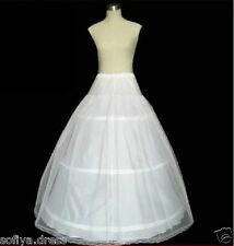 White A-Line 3 Hoop 2 Layer Bridal Wedding Gown Dress Slip Underskirt Petticoat