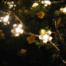 Solar Kirschblüten Blumen warmes Weiß 17M100 LED Lichterketten Garten Hochzeit