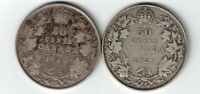 2 X CANADA 50 CENTS 1920 NARROW 0 & 1929 KING GEORGE V .800 SILVER COINS