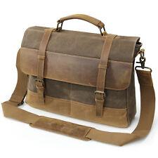"""Lifewit 15"""" Men's Messenger Bag Vintage Canvas Leather Shoulder Laptop Bag"""