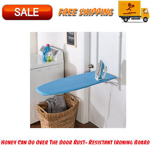 Honey Can Do Over The Door Rust- Resistant Ironing Board, Blue, Easily Hooks