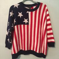 Forever 21 Small Sweater Top Red White Blue Stars Stripes July 4 Independence