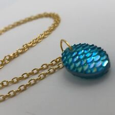 Mermaid Egg / Dragon Egg Scales Gold Plt  Necklace Pendant Turquoise AB I030
