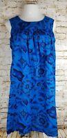 Vintage 60's UI-MAIKAI SZ S/M Blue Island Print Hawaiian Dress Muumuu Loungewear