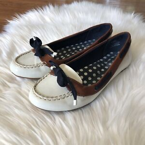 Sperry Top Sider Womens Slip On Shoes Ballet Flats Bow Patent White Navy Sz 6.5