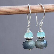 Sapphire, Blue Chalcedony Artisan Bead 925 Sterling Silver Earrings U&C Sundance