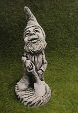 Handmade Gnome With Shovel Statue, Stone Garden Ornament