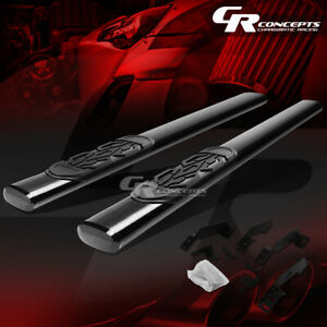 """BLACK 6"""" OVAL SIDE STEP BAR FOR 1988-2000 CHEVY/GMC C/K 1500-3500 EXTENDED CAB"""