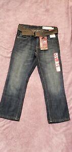 Lee Dungarees Slim Straight Leg Boys 8R Blue Jeans with Belt adjust waist $44