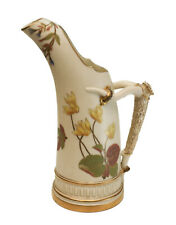 """Royal Worcester Porcelain Ivory 8"""" Tall Ewer #1116, 1886, Yellow Flowers"""