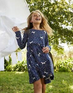 Joules Girls Hampton Paperbag Waist Dress  - Navy Unicorn - 6Yr