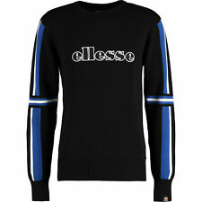 Ellesse Valessia Knitted Cotton Crew Neck Jumper Sweatshirt Medium Black BNWT
