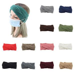 Women Knitted Headband Crochet Winter Warmer Button Hairband Hair Band Headwrap