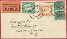 South Africa 1929 1s5d Union Airways 1st Reg Svc Port Elizabeth - Bloemfontein