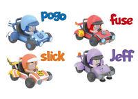 ODDBODS Mini Racers Fuse & Jeff, Pogo & Slick Cartoon Character Set