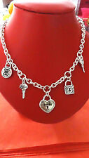 GUESS Five Charm Fashion Necklace Heart Key Double G Silver Tone BNWT