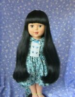 RAVEN Black Doll Wig Sz 10  Long, Straight,  with Bangs