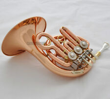 Prof. Rose Brass Piccolo MiNi French Horn Bb Keys Engraving Bell With Case Mouth