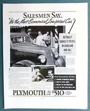 Original 1935 Plymouth Ad SALESMEN SAY IT'S THE MOST ECONOMICAL LOW PRICED CAR