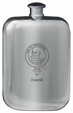 Tawse Family Crest Design Pocket Hip Flask 6oz Rounded Polished Pewter