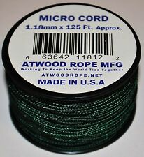 Atwood Rope Micro Masquito Hair Cord 125 ' Foot 1.18mm for Made in USA Black