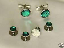 Cufflinks and Tuxedo Studs Silver Emerald Green New