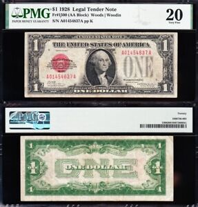 VERY NICE *SCARCE* Bold & Crisp VF 1928 $1 RED SEAL US Note! PMG 20! A01454837A