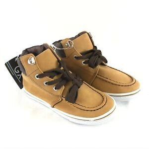 GX Toddler Boys Boots Lace Up Faux Leather Beige Size 11