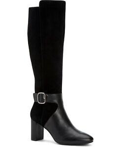 Alfani Nelsonn Women Knee High Block Heel Boots Black Suede