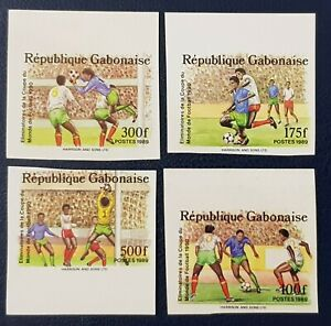 GABON 1989 IMPERF ND - SOCCER WORLD CUP COUPE MONDE FOOTBALL ITALY 1990 RARE MNH