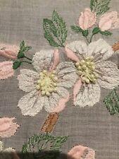 Nice Vintage Pink Embroidered Hankie Apple Tree Branch Very Pretty #139