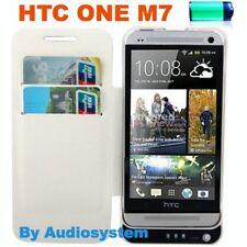 BATTERIA POWER BANK ESTERNA DA 3800MAH per HTC ONE M7 BIANCO MAGGIORATA IN PELLE