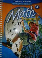 Math Triumphs Grade 4 Teacher's Edition Spiral Bound Whitney Frances Basich New