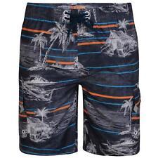 KAM Mens Big Size Palm Print Cargo Swim Shorts (338) in Charcoal