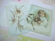 Two Antique Style Postcard Greeting Card Boy's Portrait Victorian Boy with Puppy