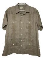 Lucky Brand Shirt Mens XL Tan Short Sleeve 100 Linen