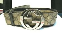 Authentic Gucci  BROWN MONOGRAM BELT WITH SILVER BUCKLE