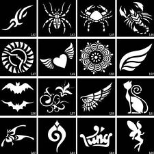 2PCS Small Glitter Airbrush Henna Tattoo Stencil Drawing Templates Body Art Mode