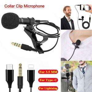 Pro Lavalier Lapel Mini Stereo Microphone Clip Condenser iPhone Samsung Nokia