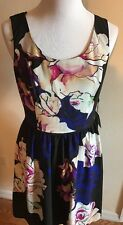 Adrianna Papell Dress Size 10 Floral Silky Soft Sleeveless Lined Back Zip NWT