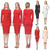 MARYCRAFTS WOMEN'S OFFICE WORK BUSINESS DRESS RUCHED WAIST LONG SLEEVE DRESSES