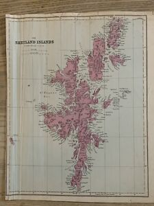 1884 Shetland Islands, Scotland Antique Hand Coloured Map by Edward Weller