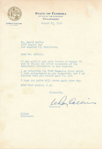 LeRoy Collins - Typed Letter Signed as Governor of Florida - 1960