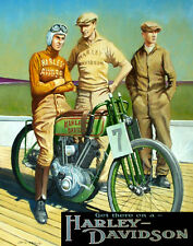 """MOTORCYCLE BIKE GET THERE ON A HARLEY DAVIDSON VINTAGE POSTER REPRO 12"""" X 16"""""""