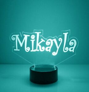 Name Light Up Night Light Lamp - 16 Color LED w/ Remote - Custom Name Light Up