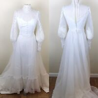 Vintage EVE OF MILADY wedding gown Victorian princess beaded High neck Size 4