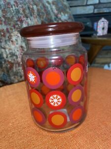 """Anchor Hocking Snowflake Red Lid Glass Storage Candy Jar Christmas Canister 6"""""""