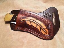 Buck 110/112 Custom Leather Crossdraw Sheath w/feather (right hand)