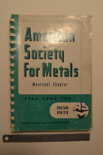 #JB9 AMERICAN SOCIETY FOR METALS Montreal Chapter Year Book 1951