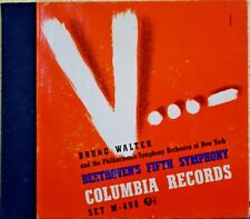 """Beethoven's 5th, 4 Record Box Set  12"""", Classical, Bruno Walter Conductor - 1941"""